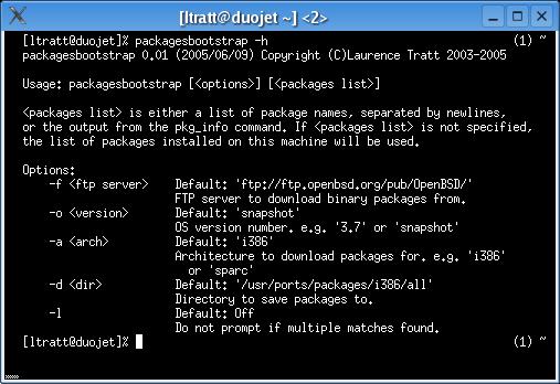 Laurence Tratt: packagesbootstrap : Screenshots
